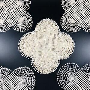 Vintage Handmade Crocheted Doilies Lot Of 12 Similar Off White Small Medium