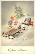Christmas Buone Feste - Boy Spills Presents on Sled - Postcard