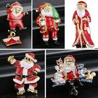 Christmas Gold Santa Claus House Love Brooch Pins Party Xmas Halloween Jewellery