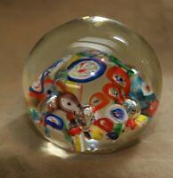 Vintage Glass Millefiori Style Round Paperweight
