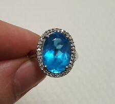QVC 9ct 375 White Gold Oval Blue Topaz Diamond Cluster Halo Ring Unused