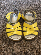SALTWATER Yellow Patent Leather Sandals Size 5 Toddler Girls