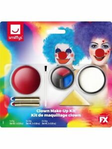 Clown Fancy Dress Make Up Face Paint Nose Crayons Sponge Set Smiffys