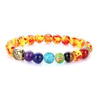 7 Chakra Natural Stone Beads Bracelet Elastic Buddha head Bracelet 225