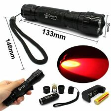 501B 800LM Cree T6 LED Tactical Flashlight Torch+18650 Battery+Charger (Red)