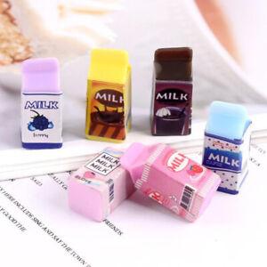 10Pcs Miniature Dollhouse 1:12 Scale Milk Carton Bottle DIY Kitchen Accessories