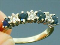 9ct Gold Sapphire & Diamond Hallmarked Eternity ring size K