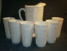 """1960's Vintage White Milk Glass Grape Leaf Pitcher 8"""" Tall with 6 Glasses"""