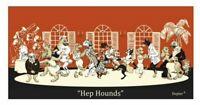 CONSTANCE DEPLER MID CENTURY MODERN DOGS FRAMED PRINT HEP HOUNDS LITHOGRAPH
