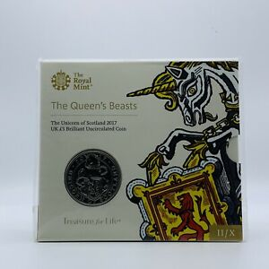 2017 Queens Beasts The Unicorn of Scotland BU Five Pound £5 coin pack SEALED / B