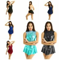 Women's Lyrical Dress Sleeveless Metallic Shiny Ballet Dance Gymnastics Leotard