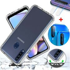 For Samsung Galaxy A20S Shockproof Clear Hybrid Phone Case+Camera Lens Protector