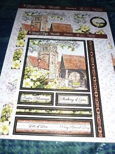 HUNKYDORY DECO-LARGE EASTER VILLAGE CHURCH DIECUTS-CARD-DS PAPER-INSERT-ENVELOPE