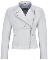 Woman's Leather Jacket White Biker Style Fitted Diamond Shape Front Panel