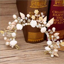 Beach Wedding sea shell flower gold tone bead tiara Fascinator HR590