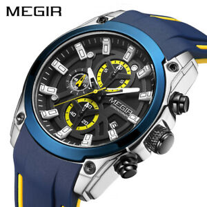MEGIR Military Sport Watches Men Waterproof Watch Man Silicone Strap Luminous