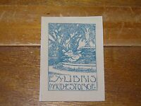 Vintage Maud Estorge Ornate Fountain w Trees & Water Lilies Blue Sepia Bookplate