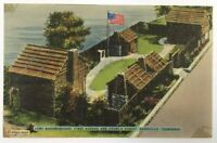 Postcard Nashville TN Fort Nashborough First Ave & Church Street Tennessee Linen