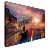 Venice Bridge Sunset Canvas Wall Art Picture Print