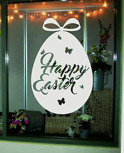 Happy Easter Egg Shop Window Display Sticker Retail Bunny Decal Vinyl Removable