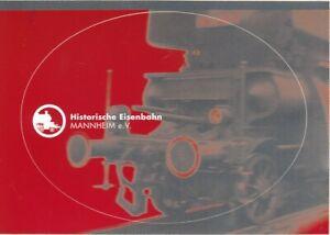 alter Aufkleber Historische Eisenbahn Mannheim e.V. 14,6x10,4cm als AK mz-1582j