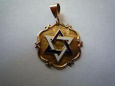 Vintage 14k Solid Gold & Enamle  Star David Pendant 3g