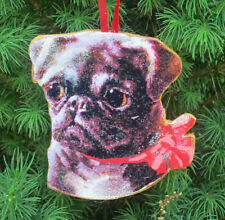 Pug Puppy Christmas Ornament Bulldog Magnet Dog Lover Veterinarian Gift Red Bow
