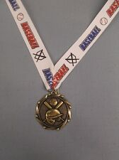 "Gold Baseball medal with theme neck drape trophy award 1 3/4"" diameter"