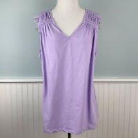 SIZE XL Ralph Lauren Knit Cotton Lavender Purple Knit Tank Top Blouse Womens NWT