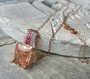 Chuck Clemency STS Rose Gold Plated Sterling Silver Morganite Pendant NECKLACE