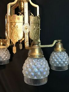 Antique Brass Light Fixture French Tudor Chandelier Iridescent Shades