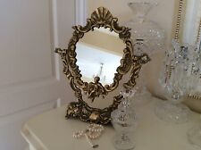 Vintage Gorgeous French Style Vanity Solid Brass Putti Rococo Mirror 34 Cm H