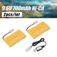 2pcs Ni-Cd AA Battery 9.6V 700mAh Pack Rechargeable For RC Car Toys KET-2P Plug