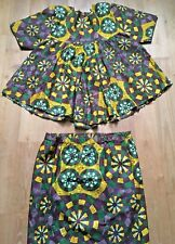 Ethnic 1970s Women Traditional African Outfit~Top & Skirt~ Signed Fabric ~New~Xl