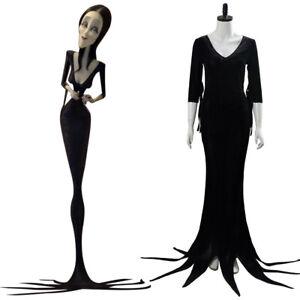 The Addams Family Morticia Addams Cosplay Costume Halloween Uniform Dress