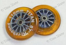 110mm ORANGE Scooter Replacement Wheels with ABEC-9 Bearings fits Razor Pro XX