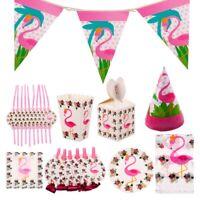Flamingo Tableware Set Hawaiian Banner Birthday Wedding Party Decor Supplies