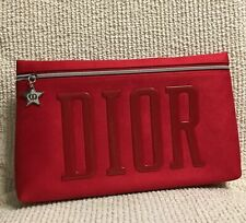 DIOR Red Velvet Large Clutch / Make Up Bag / Purse / Pouch. New In Packaging