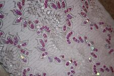 """1 yard Pale Lilac iridescent sequins sequin lingerie Stretch Lace 12"""" extra Wide"""