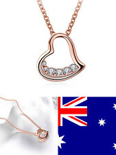 Small18K Rose Gold Women's Love Heart Pendant Necklace With Swarovski Crystal