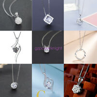 Fashion 925 Sterling Silver CZ Pendant Necklace Charm Jewelry Statement Chain