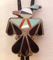 ZUNI THUNDERBIRD Sterling Silver TURQUOISE CORAL Inlay BOLO Tie, Sterling Tips