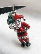 Vintage Sterling Enamel Christmas 3D Santa Claus w/ XMAS Tree Bracelet Charm