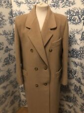 Vintage Ladies Admyra Full Length Double Breasted Cashmere Mix Camel Coat UK 10