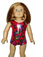 "Pinkish Red Animal Print Leotard fits American Girl 18"" doll clothes Gymnastics"