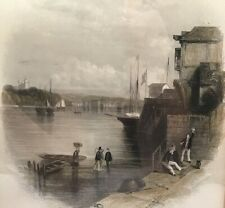 """c.1842 """"Cowes"""" drawing by Thomas Creswick - engraved by William Finden"""