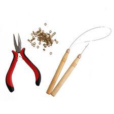 Hair Extension Kit Pliers Loop Hook Tool Hair Needle Silicone Micro Beads