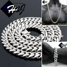 "24/""MEN Stainless Steel SUPER HEAVY WIDE 14x6mm Silver Cuban Curb Chain Necklace"