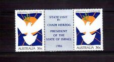 AUSTRALIA 1986 Herzog visit O/P on Peace pair MUH