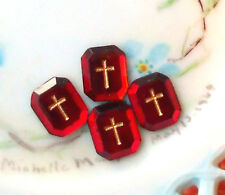 #991 Vintage Cabochons Glass Gold Cross Religious Christian Germany Ruby Red